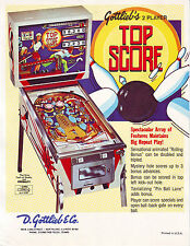 Top Score Pinball FLYER Original Gottlieb NOS 1975 Game Artwork Sheet Bowling