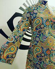 Paisley patterned nehru collar dress mod, psych