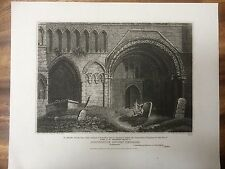 1809 Print of Dunstable Priory Church, Bedfordshire