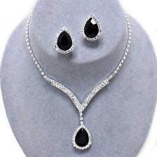 Black Crystal Rhinestone Prom Formal Bridal Wedding Clip Earrings Necklace Set