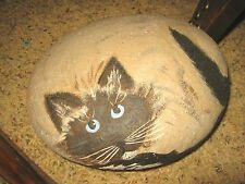 Handpainted River Rock Himalayan Birman Siamese Sealpoint Cat Statue