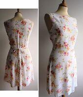 LAURA ASHLEY White Pink Short Sun Dress Vintage 1990s Size 12