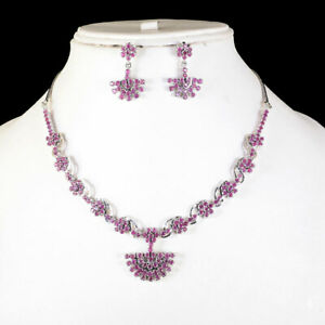 Natural Ruby Necklace Earrings Set Sparkling Red Rubies 925 Sterling Silver