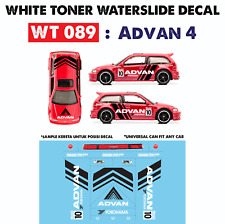 WT089 White Toner Waterslide Decals > ADVAN 4 >For Custom 1:64 Hot Wheels