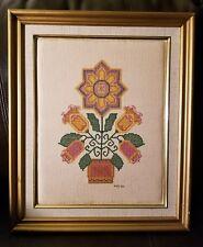 "Floral Folk Art Cross Stitch Framed 14.5"" x 17.5"""