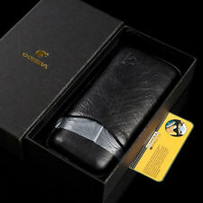 Cohiba Cigar Travel Humidor Holder Black Leather Case 3 Counts