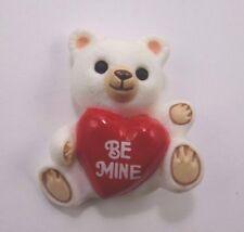 Hallmark 1985 White Bear Holding Red Be Mine Valentine Heart Pin