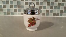 Royal Worcester Porcelain Egg Coddler or Jelly Jar Silver Lid Hand Painted Fruit