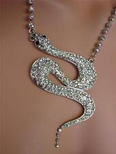 RHINESTONE CRYSTALS Snake Asp Serpent WOMEN's PENDANT NECKLACE Fashion JEWELRY