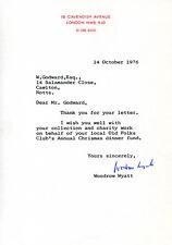 WOODROW WYATT - TYPED LETTER SIGNED 10/14/1976