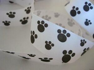 """Clearance~ 10 yards Dog Paw 7/8"""" Grosgrain Print Ribbon/Craft R85-Pink OR White"""