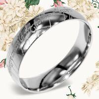 Unique Elvish Tengwar Lord of The Rings Engrave Couple Gift Titanium Ring 4703