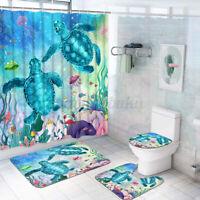 Blue Sea Turtle Shower Curtain 12 Hooks Bathroom Mat Toilet Cover Rug Decor Set