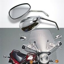 10mm Motorcycle Chrome Rearview Side Mirrors For Cruiser Honda Suzuki Touring
