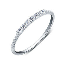 Schmaler Damen Ring echt Sterling Silber 925 mit 7 Zirkonia 43 - 63 dünn