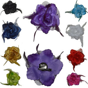 Ansteckblume Haarschmuck mit Federn Haarblume Ansteckblüte Glitzer Hochzeit