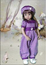"""13"""" Little Darling Effner Purple Check Roses 2-piece Outfit made by DL"""