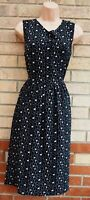MELA LOVES LONDON BLACK CREAM FLORAL DAISY SLEEVELESS A LINE SKATER DRESS 14 L