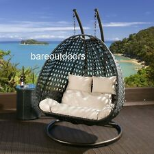 Double Seater Hanging Pod Chair - Black Wicker with Beige Cushions - PRESALE