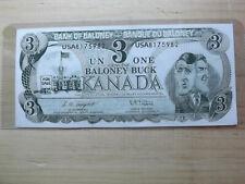 NOVELTY $3.00 ONE BALONEY BUCK PAPER MONEY GAG
