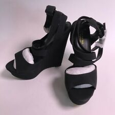 New Look Black Cross Over Ankle Strap High Wedges  - UK 6 #41A37