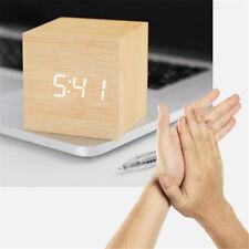 Digital LED Wooden Alarm Clock Square Sound Control F. Bedroom Bedside Time/Date