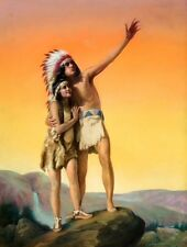 20x26 Canvas OUR HOME Art Deco American INDIAN Maiden Maid GICLEE Pinup CANVAS