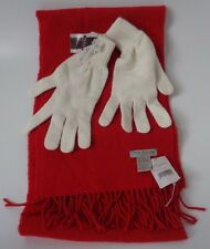 Tie Rack lambswool red scarf and cream one size gloves