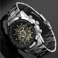 Skeleton Automatic Watches For Men Stainless Steel Wrist Watch Free Shipping VD