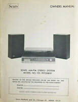Sears AM-FM Stereo Cassette / Record Player System Model #132 Instruction Manual