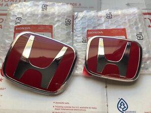 2pcs set Honda Accord Sedan 4Dr 06 07 JDM Red H Front Rear Type R grille emblem