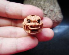 Vintage handwork wood dragon bead Netsuke necklace pendant carving  146