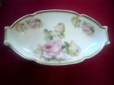IMPERIAL PSL EMPIRE CREAM CELERY PLATE DISH TRAY- PINK & YELLOW ROSES C1914-18
