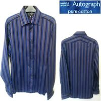 "NEW M&S COLLAR SIZE 15.5"" MEN`S LONG SLEEVE BLUE MIX STRIPED CASUAL SHIRT #34"