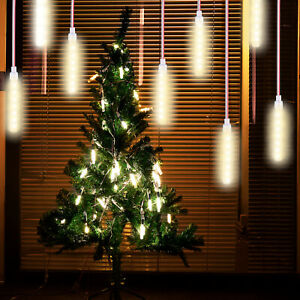 LED Meteor Shower Rain Lights Party Xmas Tree Garden Icicle Snow Falling Tubes