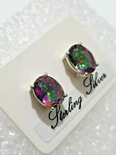Natural Mystic Topaz Gemstone Oval Stud Earrings 925 Solid Silver Real Stone