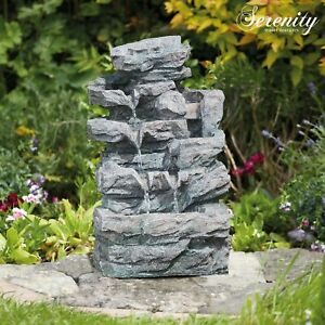 Serenity Rockfall Water Feature Garden Cascading Fountain LED Indoor Outdoor NEW