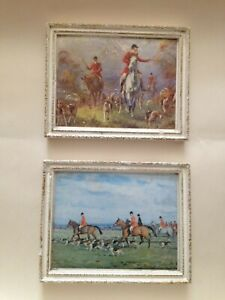 2 Vintage Hunting Scene Miniature Prints set in Plaster Frames