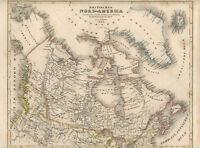 c1850 Britisch-Nordamerika Kartographie Amerika Stahlstich-Karte grenzkoloriert