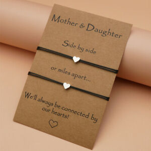 Mother Daughter Day Love Heart Charm Adjustable Bracelet Gift Card Wish Present