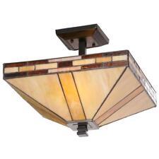 Dale Tiffany, Mission 2-Light Antique Style Bronze Semi-Flush Mount Light