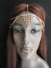 NEW WOMEN GOLD METAL HEAD CHAIN FASHION JEWELRY HAIR SILVER MULTI RHINESTONES