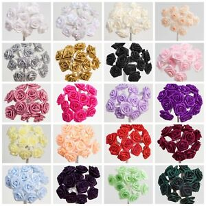 Ribbon Roses on Stem Miniature Wired 15mm Satin Flowers Craft Embellishment