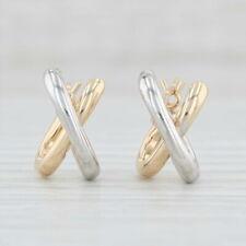 2Toned XDrop Earrings 14k Yellow White Gold Snap Top Pierced