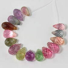 Afghani Tourmaline Faceted Full Teardrop Beads (15)