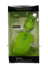GREEN USB Wired retractable Optical Mouse  Scroll Wheel Laptop Mac Windows