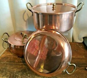 SET OF VINTAGE FRENCH BRASS & COPPER CHEFS SAUCEPANS / SAUTE FRYING PAN