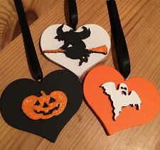 3 Halloween Decorations Handmade Hanging Witch Pumpkin Ghost Orange Black