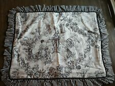 2 French Country Black White Toile Pillow Sham Standard Floral Stripe Ruffles