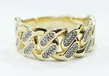Sale 10k Yellow Gold Diamond Pinky Fashion Ring Men Cuban Link Size 10 Men Band